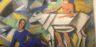 """Pannello della parete Ovest nella ricostruzione della decorazione della """"stanza dei manichini"""" nella casa di Giovanni Papini, di Ardengo Soffici"""