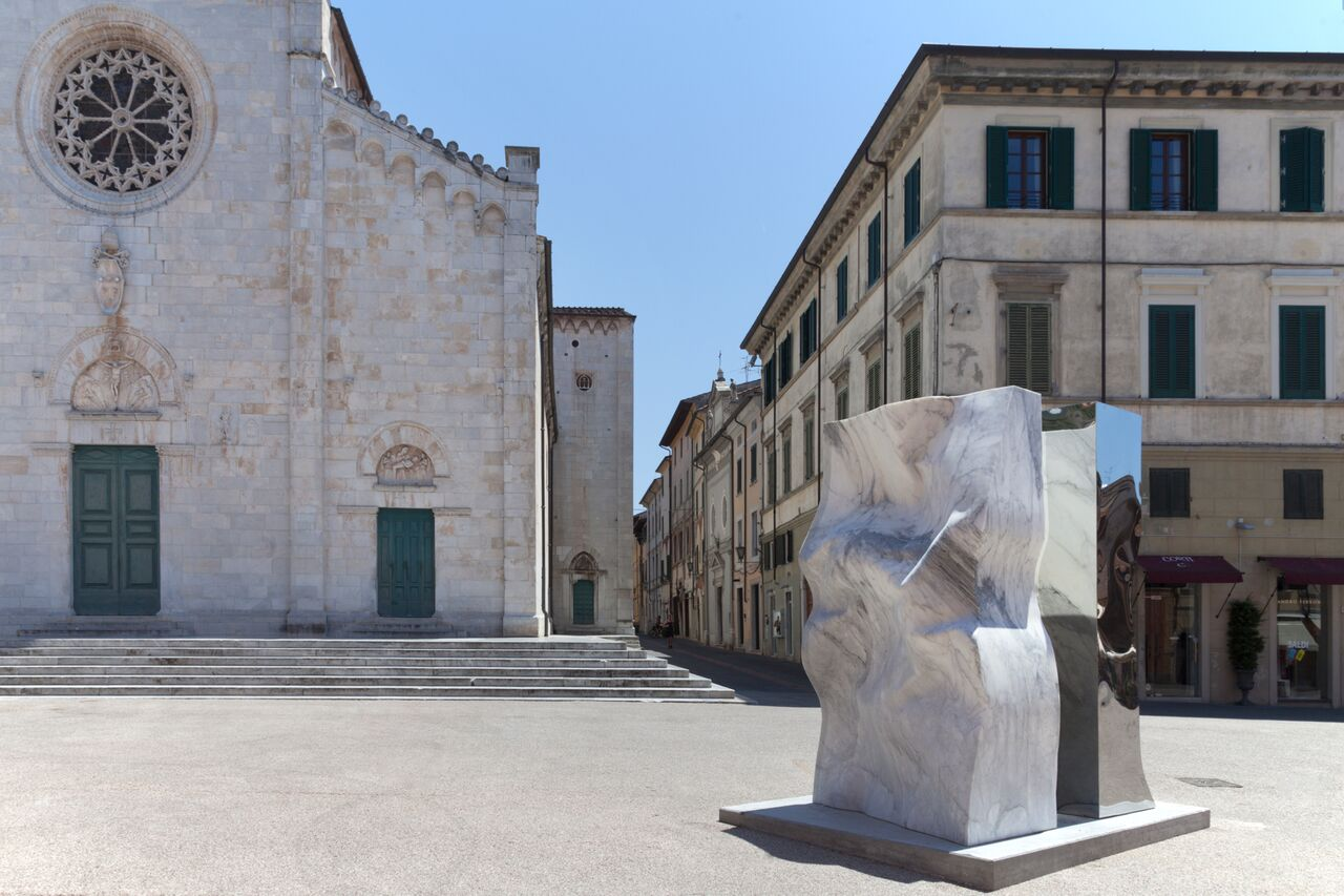 "Helidon Xhixha, ""Symbiosis"", Mirror Polished Stainless Steel and Marble Statuario dell""Altissimo, Pietrasanta, June 2016"